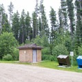 Toilet and trash facilities at Southview.- Southview Provincial Recreation Area