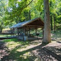 A picnic area on the west side of Lake Placid.- Chickasaw State Park