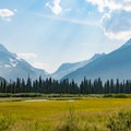 A glimpse of Glacier National Park's tall peaks from a clearing near the trail.- Florence Falls
