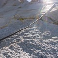 Fixed ropes on the ascent of Cardinal Pinnacle.- Cardinal Pinnacle: Regular Route