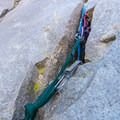 The first belay station on Cardinal Pinnacle.- Cardinal Pinnacle: Regular Route