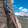 A rappel chain from the top of Cardinal Pinnacle.- Cardinal Pinnacle: Regular Route