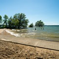 The beach as seen during high water.- Westcott Beach State Park