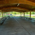 A pavilion in the picnic area.- Westcott Beach State Park