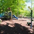 The playground in the campground.- Westcott Beach Campground