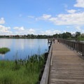 Boardwalk over the lake, where fishing is allowed.- Bill Frederick Park + Campground at Turkey Lake