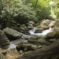 Lots of opportunity to rock hop above the falls.- Skinny Dip Falls