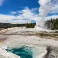 Lion Geyser with Heart Spring in the foreground.- Upper Geyser Basin Trail