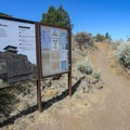 An informational sign at the trailhead.- Schonchin Butte