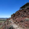 The fire lookout boasts views of a snow-covered Mount Shasta.- Schonchin Butte