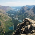 View of the Swiftcurrent Valley toward Many Glacier.- Swiftcurrent Lookout