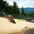 The beach has water slides and games for all ages.- Lake Lure Beach