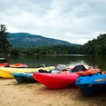 The beach house offers kayak rentals.- Lake Lure Beach