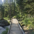 First foot bridge.- Garnet Canyon Trail to Cleft Falls