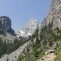 Hiking along the trail.- Garnet Canyon Trail to Cleft Falls