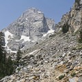 Middle Teton Peak (12,804 feet) and the Dike Route.- Garnet Canyon Trail to Cleft Falls