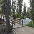The footbridges near Secret Falls and the boat dock.- Cascade Canyon via South Jenny Lake