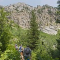 The first section of the Cascade Canyon Trail consists of steep switchbacks.- Cascade Canyon via South Jenny Lake
