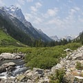 Teewinot on the left and Mount Owen (12,927 ft) in the distance.- Cascade Canyon via South Jenny Lake