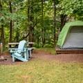 A typical site in Chéticamp Campground.- Chéticamp Campground