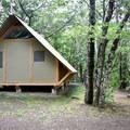 Site 76c, an oTENTik site (like a tent cabin).- Chéticamp Campground