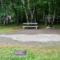 An RV site with electric and water hookups and privacy.- Chéticamp Campground