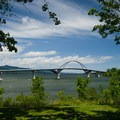 Champlain Bridge as seen from the campground.- Crown Point Campground
