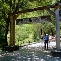 The entrance to Muir Woods National Monument.- Muir Beach to Stinson Beach via Muir Woods National Monument