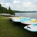 Paddleboards, canoes and kayaks are available for rent.- Meacham Lake Campground