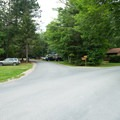 The winding roads of Meacham Lake Campground.- Meacham Lake Campground