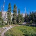 The trailhead at Mirror Lakes.- Medicine Bow Peak Loop
