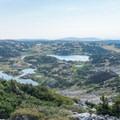 Halfway to the summit, looking back at Lewis Lakes.- Medicine Bow Peak Loop