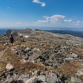 The trail flattens out and drops steadily.- Medicine Bow Peak Loop