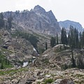 One of the many large and small waterfalls along the way.- Lake Solitude via Cascade Canyon