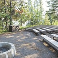The Campfire Circle, where park rangers lead talks.- Lizard Creek Campground