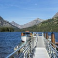 The boat dock at Two Medicine Lake.- Two Medicine Lake Boat Tour
