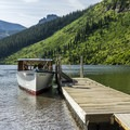 The west boat dock.- Two Medicine Lake Boat Tour
