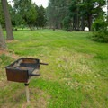 Plenty of grills are available at the picnic area.- Meacham Lake State Park