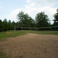 The volleyball court.- Meacham Lake State Park