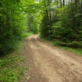 The dirt road leading to the Debar Mountain Trailhead.- Meacham Lake State Park