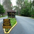 The entrance to the park.- Meacham Lake State Park