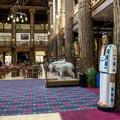 The frame of the lodge is made up of huge ponderosa pine logs.- Glacier Park Lodge