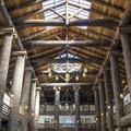 The main lobby of Glacier Park Lodge.- Glacier Park Lodge