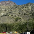 The long RV-friendly sites along Pray Lake are very desirable.- Two Medicine Campground