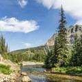 Two Medicine Creek downstream.- Running Eagle Falls Hike