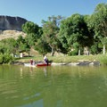 The small step down from Discovery Park to the boat launch.- Boise River: Discovery Park to Diversion Dam