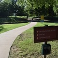 A paved walking trail in Fort Smith National Historic Trail.- Fort Smith National Historic Site