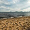 Golden sand on the beach.- Meacham Lake Beach