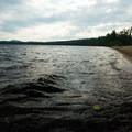 Shallow water near the beach.- Meacham Lake Beach