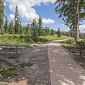 Paved paths to the lookouts and visitor center across the street.- Point Supreme Campground